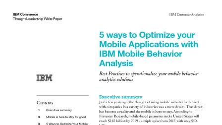 White paper 5 ways to optimize your mobile applicaitons with ibm mobile behavior analysis.pdf thumb rect larger
